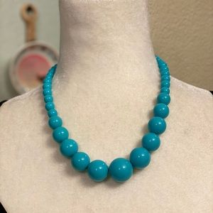 Vintage Teal Ball Bead Necklace